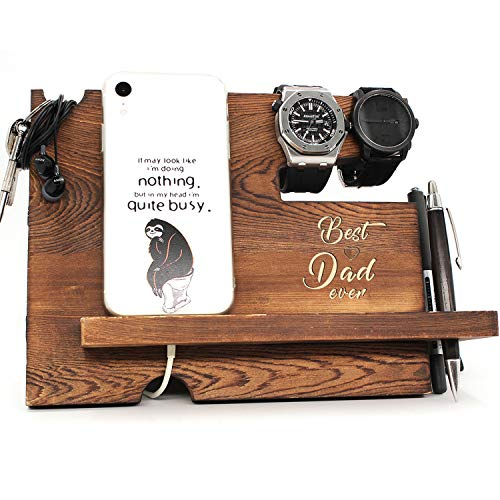 Best Dad Ever - Dad Father Gift from Son or Daughter, Fathers Day Dift, Nightstand Organizer with...