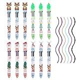 12 Piezas de bolígrafos de tinta de gel de Navidad,6 colores Navidad Lindo Rollerball Bolígrafo Set Bolis Borrables de Colores muñeco de nieve reno árbol de Navidad bolígrafo para de notas