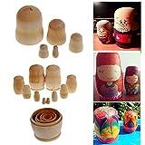 5pcs / Set de enseñanza Pintura Juguetes sin Pintar de Bricolaje de Madera en Blanco embriones Rusa ...