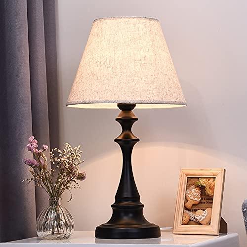 Chao Zan Lámparas de Mesita de Noche, Lámpara de Mesa E27, Pantalla de Tela, Lámpara Escritorio Diseño Clasico Vintage para Dormitorio,Lámparas de Lectura, Estudio, L30 x H50cm (sin bombilla)