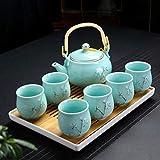 LLKK Tetera,Juego de té,Taza de cerámica para el hogar,Tetera con Barra de elevación,Moderna y Simple,6 Paquetes de Taza Grande,Tetera fría,Bandeja de té seco