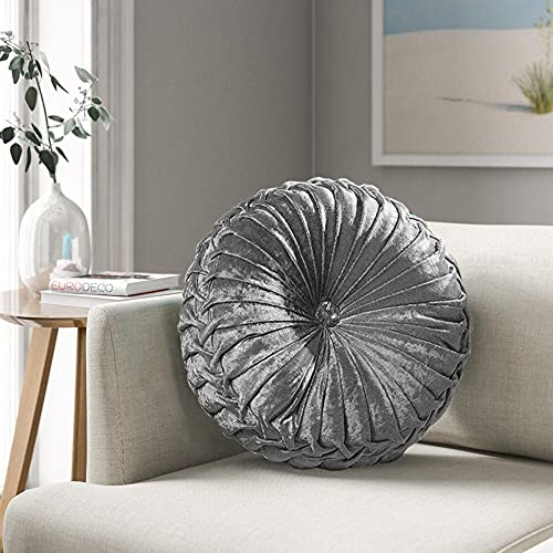 Round Cushion Filled Cushion With Glittery Stitched Diamond Reversible Sofa Chair Cushion (Silver, Small)