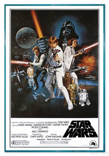 Close Up Star Wars Poster Style 'C' - American (94x63,5 cm) gerahmt in: Rahmen türkis