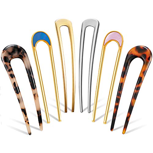 6 Pieces U Shaped Hairpin French...