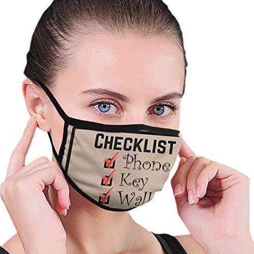 Checklist Telefoonsleutels Portemonnee Jongens En Meisjes Print Half Gezicht Wasbaar Herbruikbare Mond Bescherming Voor Reizen