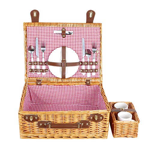 ZHIQ Wicker Picnic Basket Set for 2 or 4 People Hamper Deluxe Handmade Large Woven Storage with Reinforced Handle for Camping Outdoor Halloween Costume
