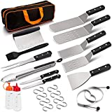 HaSteeL Griddle Grill Accessories 16PCS, Metal Spatula Stainless Steel with Carrying Bag, Professional BBQ Griddle Tools Kit for All Your Grilling Needs - Teppanyaki Flat Top Cooking and Camping