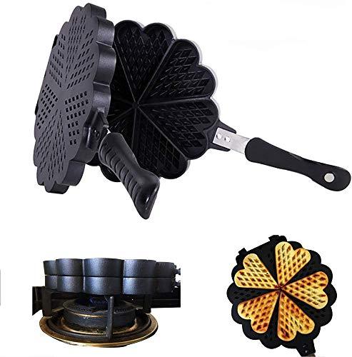 Waffle Iron Cast Iron Duurzaam Waffle Pan gelijkmatige verwarming, Cast Iron Waffle Iron Stove Top Aluminium, 23CM * 23CM