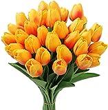 Tifuly 24 Pezzi di Tulipani Artificiali in Lattice, realistici Bouquet di Fiori Finti di Tulipani per la casa, Matrimonio, Festa, Decorazione dell'ufficio, composizioni Floreali (Sunset Red)