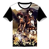 WANHONGYUE Anime Ataque a los Titanes Attack on Titan 3D Impreso T-Shirt Cosplay Disfraz Verano Camisetas Manga Corta tee Tops 1 L