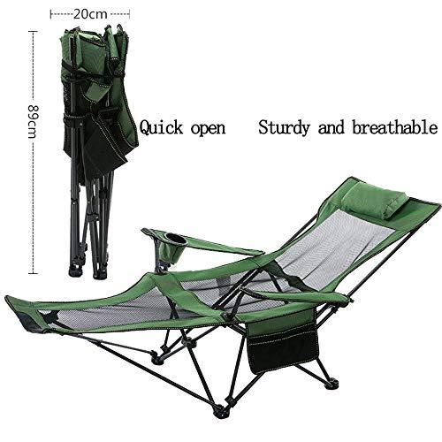 LCTZDY chaise pliante légère avec cordons élastiques, structure en acier robuste, chaise de camping portable avec porte-gobelet, utilisation pour les festivals, la pêche et le jardin -Sac extérieur +