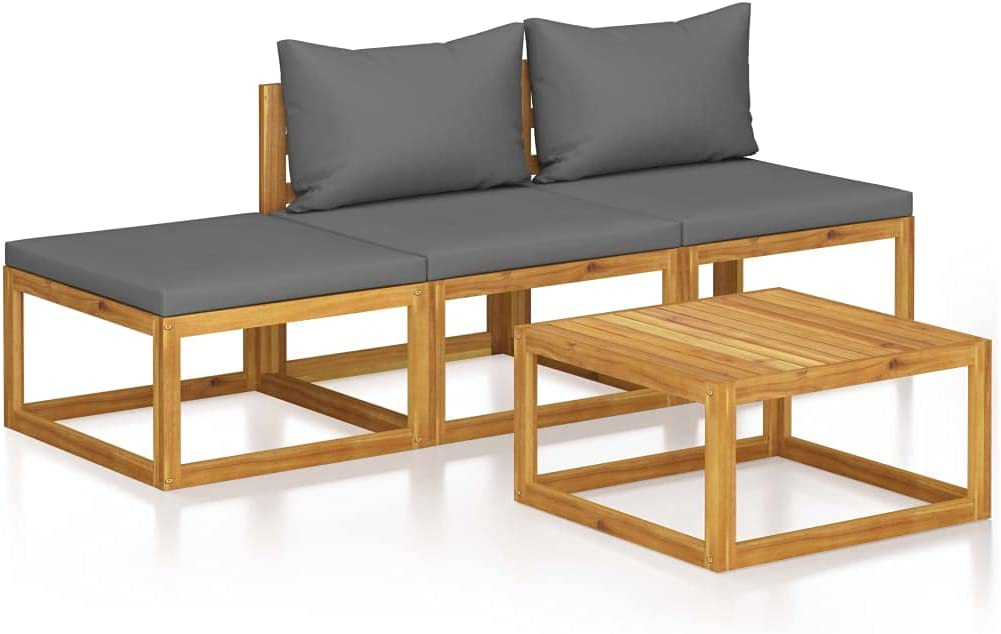 NusGear 4 Piece Garden Lounge Set Acacia with Max 45% OFF Wood Max 49% OFF Cushion Solid