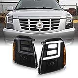 AKKON - For 2007-2014 Cadillac Escalade Xenon/HID Model Type Black Smoked LED Daytime Running Light Tube Projector Headlight