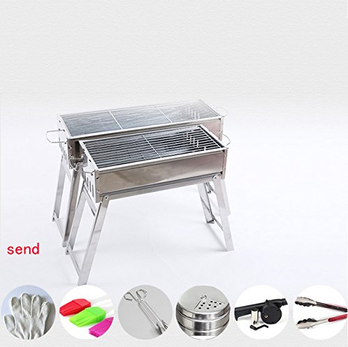 NANXCYR RVS Barbecue Grill Draagbare Kolen Barbecue Tafel Dikker Opvouwbare Grill BBQ Camping Buiten Tuin Familie 2 Maten Barbecue Party
