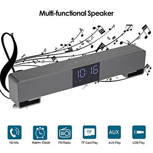 WHCCL soundbar, draagbare bluetooth-luidspreker, dubbele luidspreker, met wekker, led-display, FM-oproep, voor tv, pc, mobiele telefoon, tablet-projector