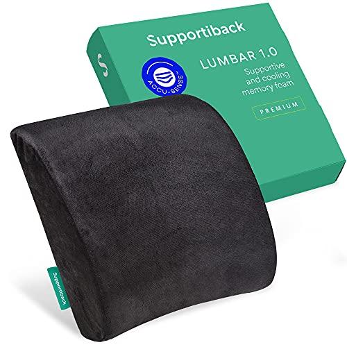 Supportiback Cojín Lumbar Ortopédico Memory Foam para Sillas de Oficina y Asientos de Coche para el Alivio del Dolor de la Zona Lumbar, Lesiones de Coxis y Dolor de Ciática- Soporte Lumbar Ergonómico