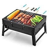 Uten Barbecue Portable Petit Barbecue à Charbon de Table Domestique Pliable avec 2 Barbecue Grille Inox Barbecue Extérieur / Camping / Piquenique