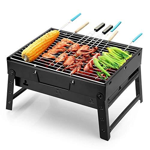 Uten Barbacoa portátil Barbacoa carbón ahumador Parrilla para al Aire Libre cocinar Camping Senderismo Picnic Mochila, Color Negro