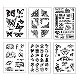 Gobesty Sellos de silicona transparente, 6 hojas de patrones surtidos Plantillas de corte de sello claro para tarjetas de Scrapbooking DIY, álbum de fotos decorativo