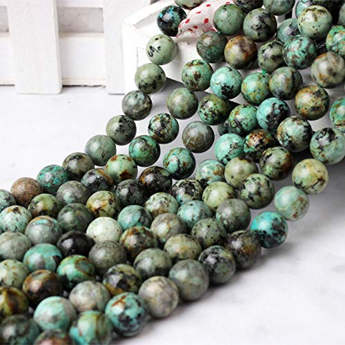 6 8 10 12Mm Fashion Natural Stones Green African Pine Stone Loose Beads Suitable For DIY Female Bracelet Necklace Make African pine 10mm 38beads