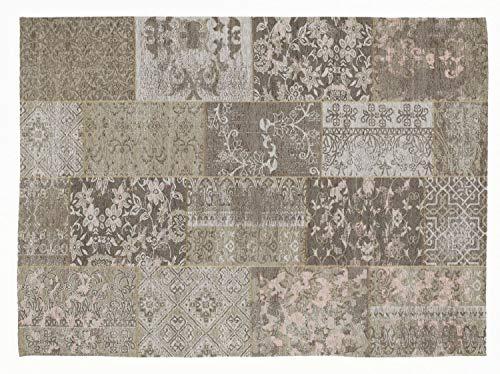 DALLIANCE ALLOVER Vintage Patchwork Velour Teppich in natur, Größe: 40x60 cm