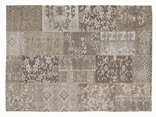 DALLIANCE ALLOVER Vintage Patchwork Designer Teppich in natur, Größe: 80x200 cm
