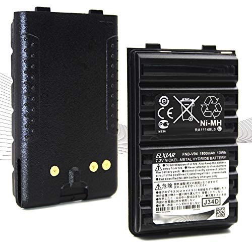 (2-Pack) 7.2V 1800mAh Ni-MH Battery Pack Compatible for Yaesu Vertex FNB-V94 FNB-83 FT-60R FNB-V57 FNB-64 VX-410 VX-420 VX-420A VX-150 VX-160 VX-170 VX-180 FT-270 Two Way Radio