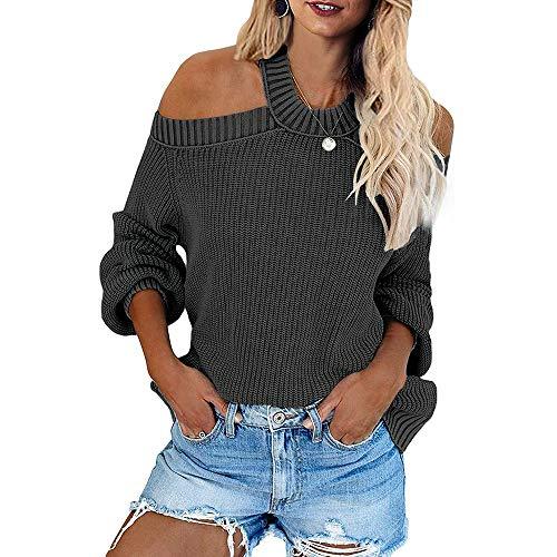 Suéter de Punto con Hombros Descubiertos y Cuello Halter Informal para Mujer Jersey Holgado de Manga Larga, cómodo y Moderno sin Espalda (Gris, L)