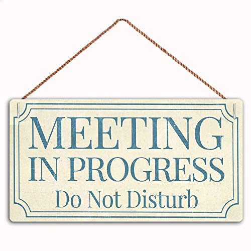 Meeting in Progress Do Not Disturb Sign Home Decor Wood Sign Plaque 10' X 5' Hanging Wall Art, Decorative Funny Sign,Garden Sign(ZM-20)