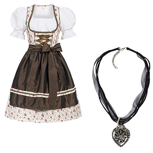 Gaudi Leathers Dirndl set Erna 4-delig Tiroler Tiroler kostuum voor Oktoberfest met ketting carnaval dames