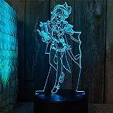 Lámpara De Ilusión 3D Luz De Noche Led Chica De Dibujos Animados Iluminación Interior Lámpara De Mesa Dormitorio Mesita De Noche Decoración Regalo De Los Niños Cumpleaños De Vacaciones