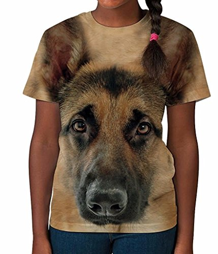 Bang Tidy Clothing Kids Graphic Tee Youth T Shirt German Shepherd Clothes for Girls White