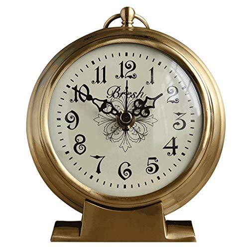 O&YQ Horloge de Table de Comptoir Horloges de Cheminée Créativité Horloge en Cuivre Pur Horloge de Décoration 12X4.3X14.3Cm Elle S'Applique Aux Familles Aux Bureaux Etc.
