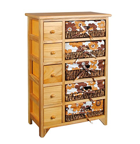 Cómoda marrón estilo retro 70s con 5 cajones y 5 cestas con tela de flores naranja y marrón