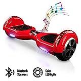 ACBK - Patinete Eléctrico Hover Autoequilibrio con Ruedas de 6.5' - Bluetooth + Luces LED + Mando a Distancia + Funda de Transporte - Velocidad máxima: 10-12 km/h, Autonomía 10-20 km (Azul)