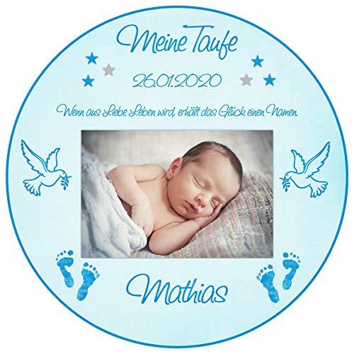 Tortenaufleger Tortenbild Taufe blau Babyfüsse Taube Sterne Jungen Wunschtext Foto essbar Ø 20cm 682