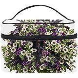 化粧ポーチ メイク収納 中身が見やすい枝の花の葉の花 持ち運び用 小物入れ