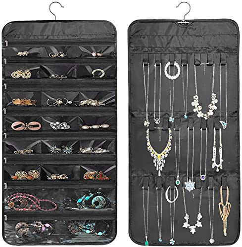 Hanging Jewelry Organizer,Double Side Storage Organizer with 22 Zipper Pockets ,20 Hook Loops for Holding Jewelries (black)