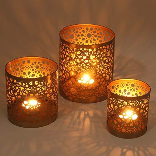 Casa Moro Marokkanische Windlichter 3er Set Navin aus Metall in Antik-Gold Look | 3 runde Kerzenhalter | Orientalische Teelichthalter wie aus 1001 Nacht | WLS505
