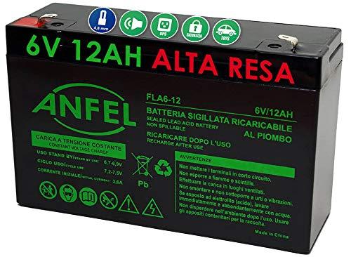 ANFEL 6V 12Ah Batteria al Piombo Ricaricabile sigillata ermetica Compatibile con 6V 10Ah per Auto Macchine Quad Moto per Bambini
