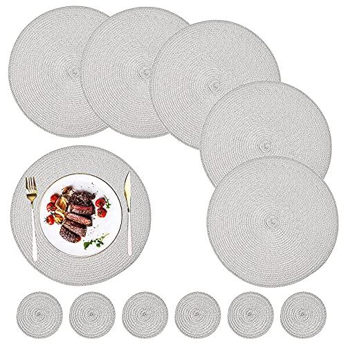 12 piezas redondas manteles individuales trenzados resistentes al calor manteles individuales lavables y antideslizantes y juegos de posavasos mesa de comedor para interiores y exteriores, gris