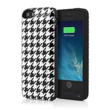 iPhone 5s Battery Case Incipio offGRID Houndstooth Battery Case [2000 mAh] fits iPhone 5 iPhone 5s iPhone SE - Black/White