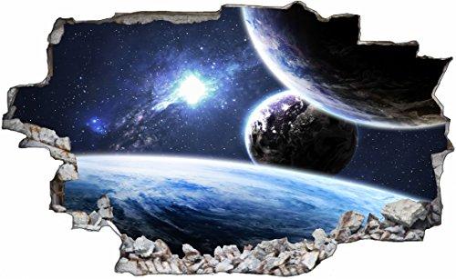 DesFoli Sonne Erde Space Weltall Galaxy Planeten 3D Look Wandtattoo 70 x 115 cm Wand Durchbruch Wandbild Sticker Aufkleber C231