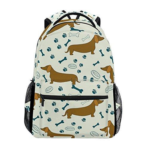 COOSUN Cartoon Dog Bassotti Casual Pattern Daypack sacchetto di scuola dello zaino di viaggio Multicolore