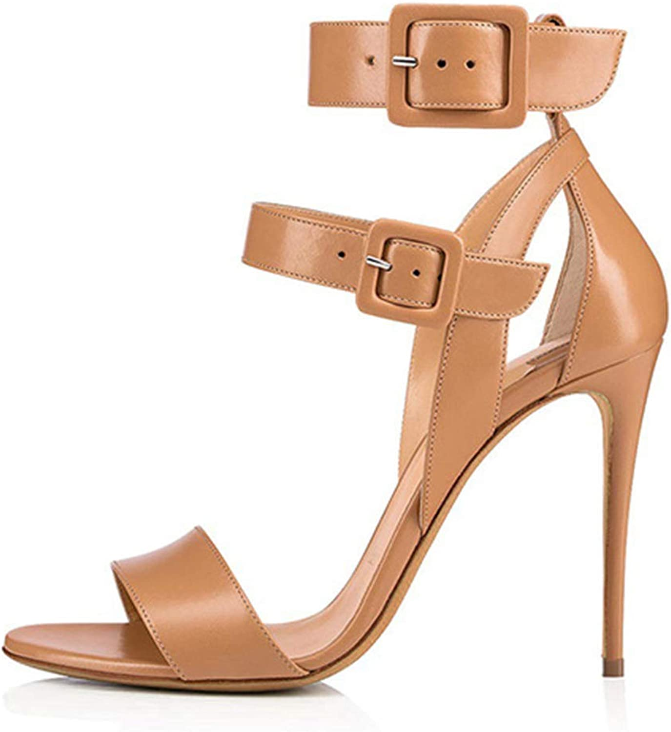 Women's Ladies Summer Heeled Sandals High Heel shoes Stiletto Heels shoes Pumps Peep Open Toe Ankle Buckle Dress Party Black Brown