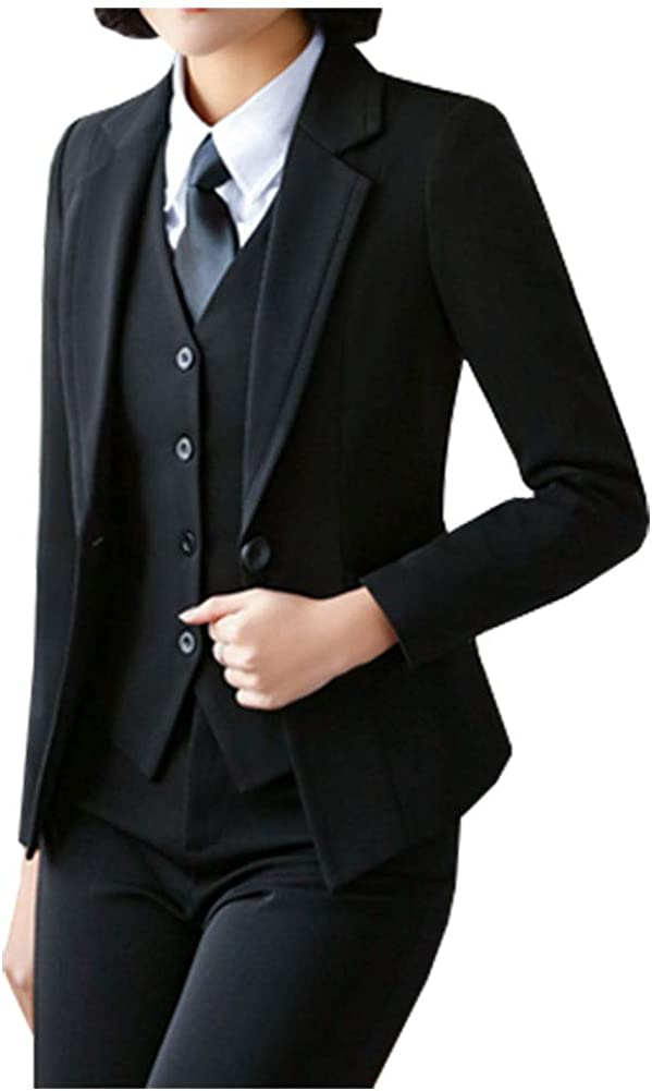 CYSTYLE Damen Anzugjacke Blazer Jacke Elegant Damenjacke Cardigan Geschäft Büro Jacke Revers Business Trenchcoat Kurz Mantel Stil 4
