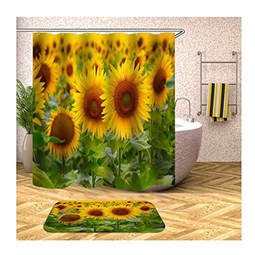 Anwaz Duschvorhang & Badezimmerteppich Set Waschbar aus Polyester Sonneblumen Muster Design Badewanne Vorhang Bade Matte Bunt mit 12 Duschvorhangringen für Badewanne - 120x180CM/ 40x60CM
