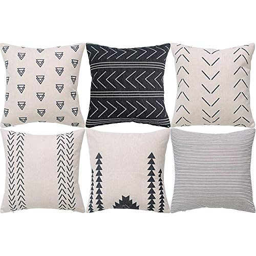 Semoic Geometrischer Kissen Bezug 6Er Set Dekorative Quadratische Sofa Kissen HüLle Aus Baumwolle, 45 X 45 cm