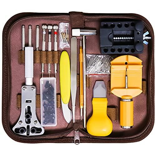 Uhrenwerkzeug Set, Qfun Uhr Reparatur Uhrmacherwerkzeug Uhr Werkzeug Tasche Watch Tools in Gelb Nylontasche