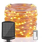Solar String Lights Outdoor, 66 ft 200 LEDs Solar Powered Fairy Lights, IP67 Waterproof 8 Modes RF Remote Timer Rope Lights with 3.7V/2000mA, Solar Lights Outdoor Decorative (Warm White)